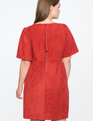 Faux Suede Flare Sleeve Dress FIRE CORAL