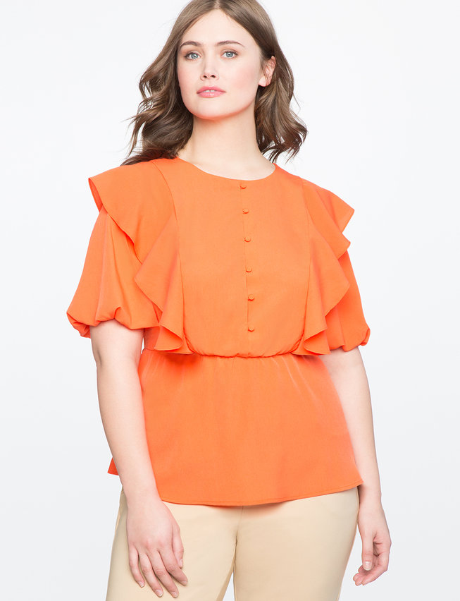 Ruffle Peplum Blouse with Bib