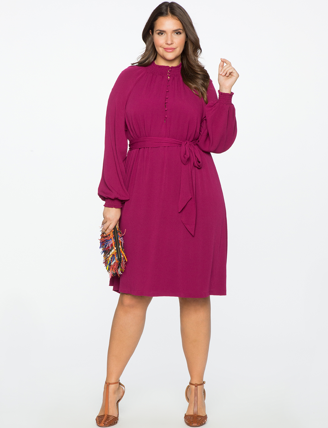 Smocked Collar Button Down Dress