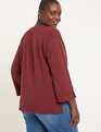 Button Sleeve High- Low Sweatshirt Cabernet