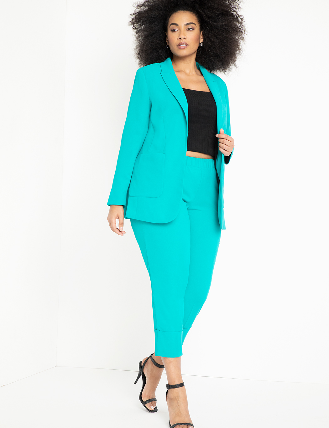 Long Blazer with Pocket Detail