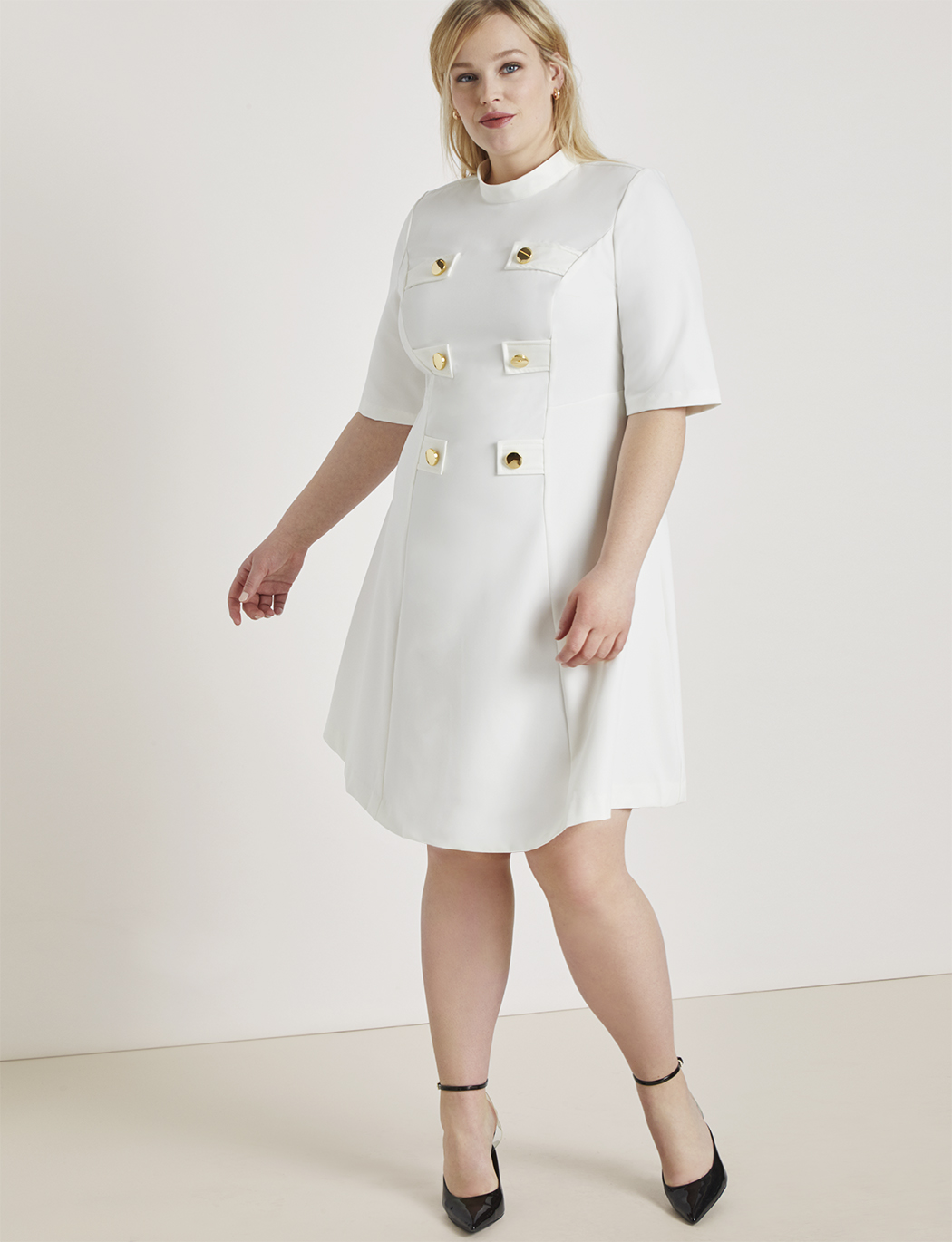 Mock Neck Military Dress with Sleeves