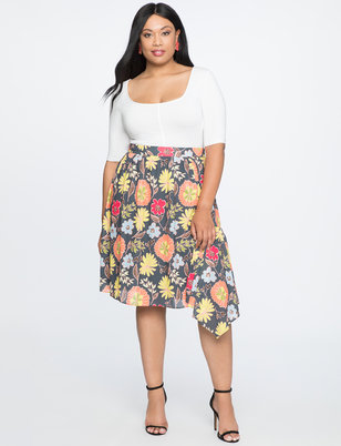 Printed Asymmetrical Midi Skirt