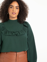 Easy Blouse with Ruffle Yoke Dark Green