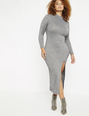 Metallic Ribbed Maxi Mock Neck Dress