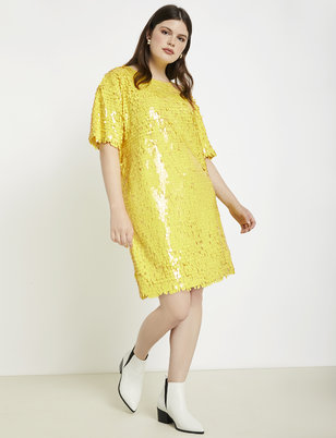 Sequin Easy Dress with Rib Trim