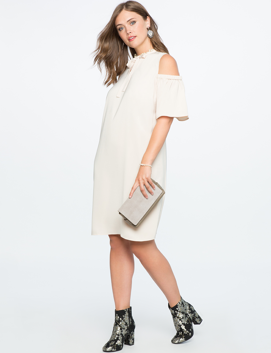 Cold Shoulder Tie Neck Dress