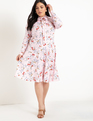 Tie Neck Midi Dress Rose Rain