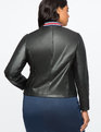 Studio Faux Leather Bomber Jacket Totally Black