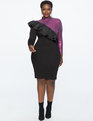 Long Sleeve Sequin Dress with Ruffle BLACK/RASPBERRY