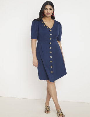 Button Front A-Line Dress