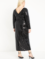 Sequin Maxi Dress with Wrap Skirt Totally Black