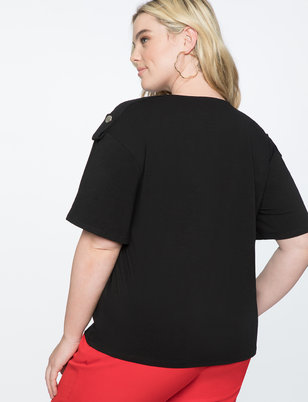 Shoulder Detail Flared Sleeve Tee