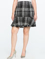 Tweed Fit and Flare Skirt with Frayed Hem Black + Soft White