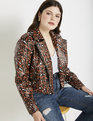 Cropped Moto Jacket Speckled Leopard