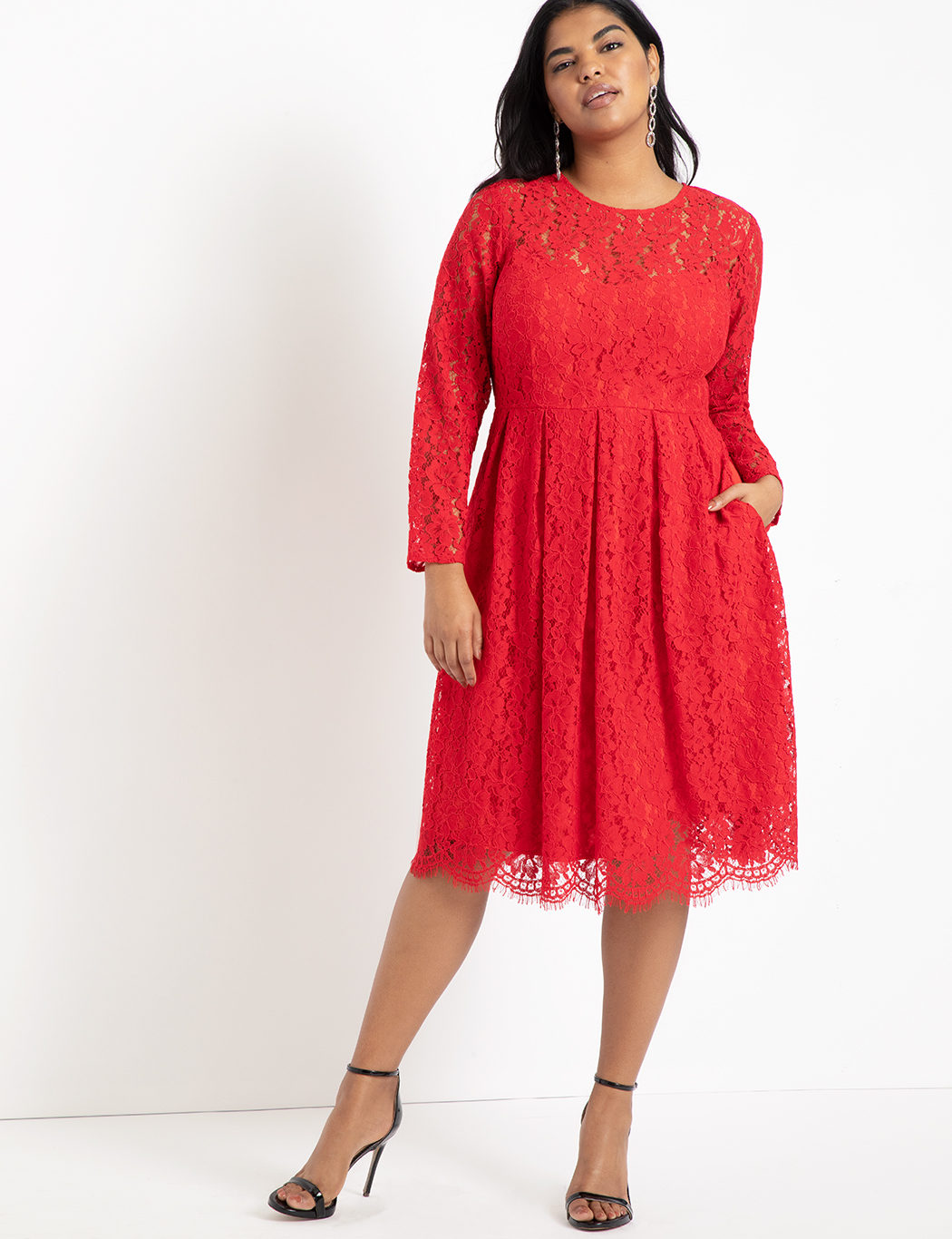 Lace Fit and Flare Dress | Women\'s Plus Size Dresses | ELOQUII