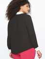 Colorblocked Button Down Top BLACK W/ SOFT WHITE