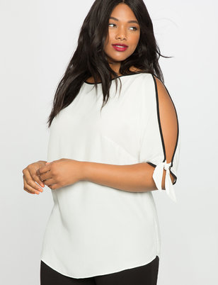 Split Sleeve Contrast Top
