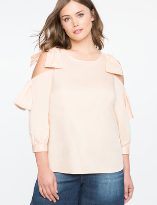 Cutout Shoulder Top with Bow Detail