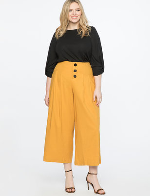 Pleated Crop Pant With Novelty Button