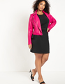 Faux Leather Moto Jacket Verry Berry