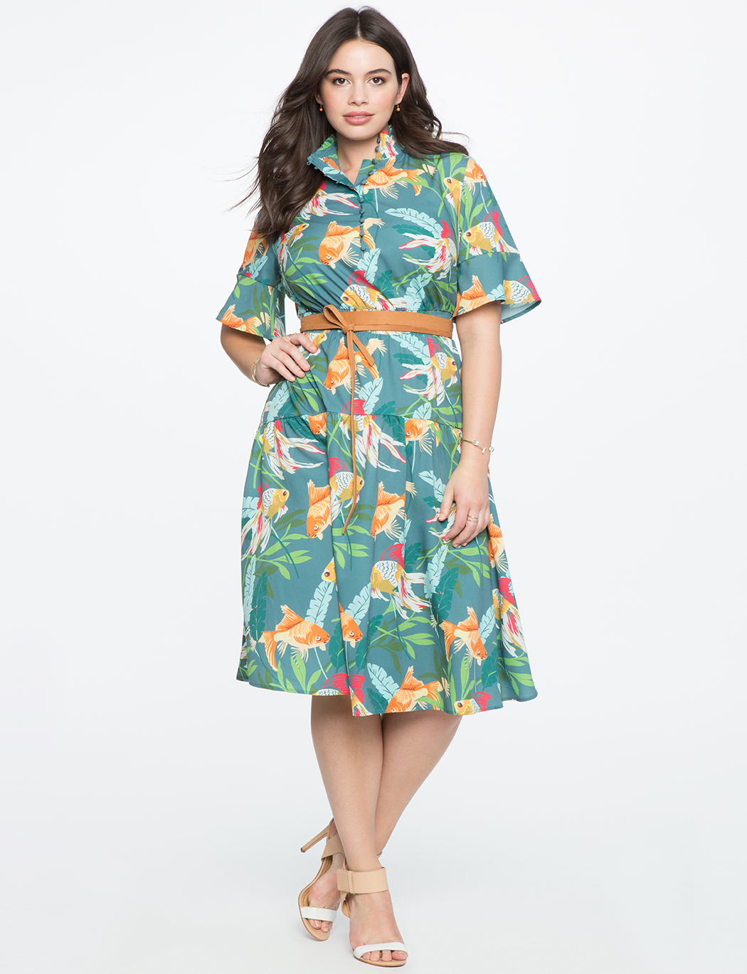 210e07f00a Flare Sleeve Midi Dress