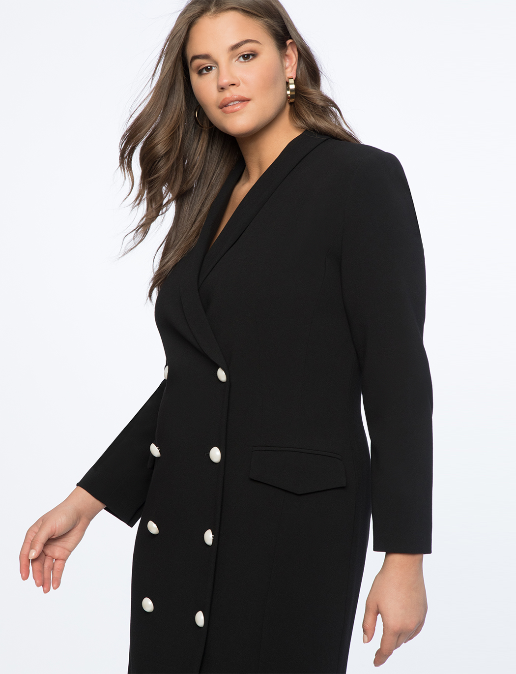 Pearl Button Blazer Dress