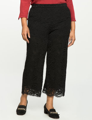 Wide Leg Cropped Lace Pant