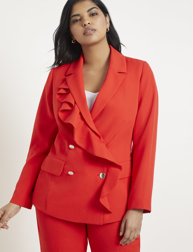 Ruffle Detail Double Breasted Blazer