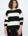 Soft Striped Sweater Totally Black and Soft White Stripe