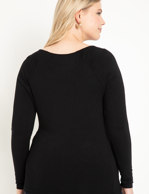 Wide V-Neck Long Sleeve Top