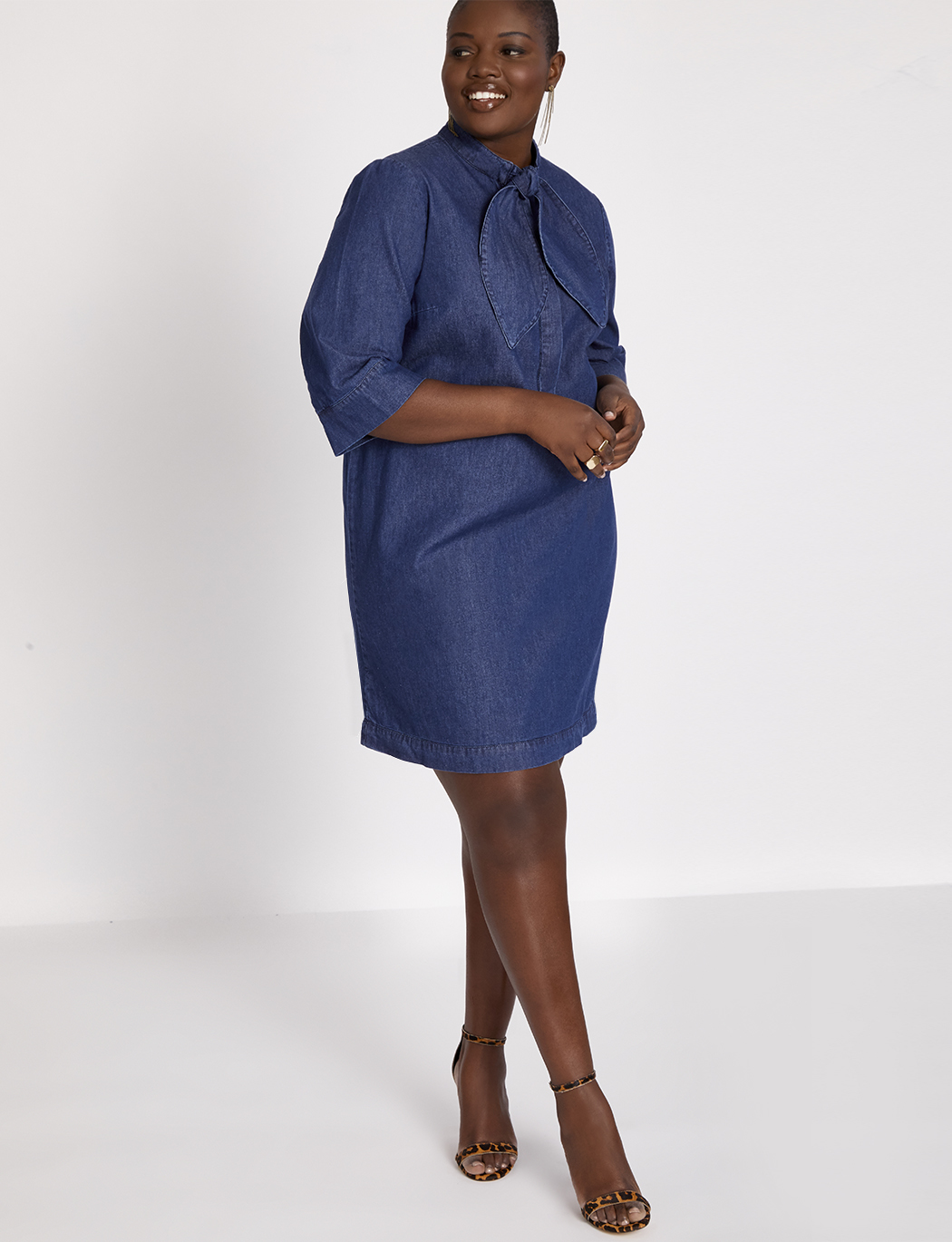 Tie Neck Denim Dress
