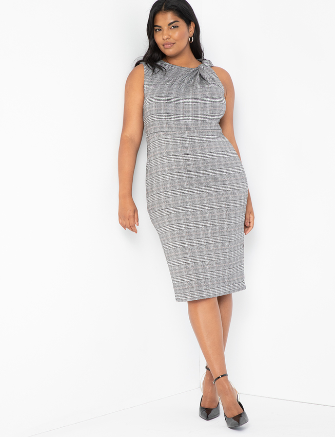 Twist Neck Plaid Dress