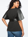 Flare Sleeve Tie Waist Faux Leather Top Black