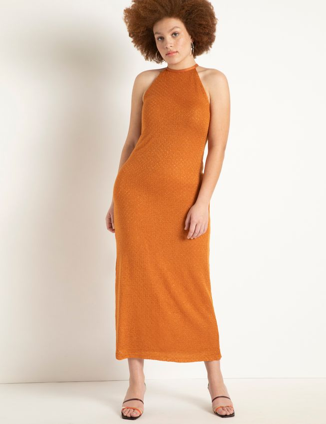 Halter Textured Maxi Dress