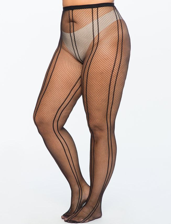 Seamed Fishnet Detail Tights