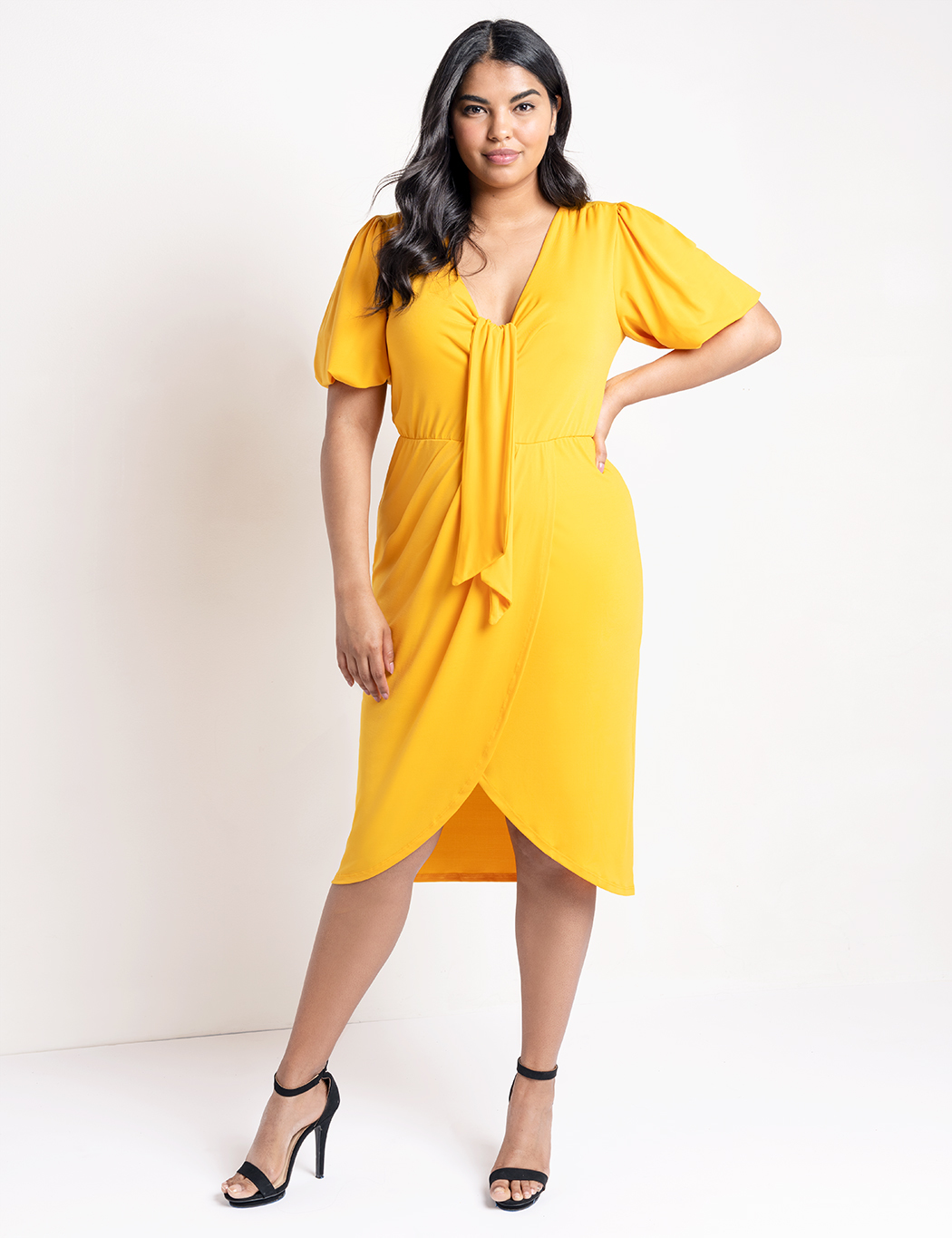 Puff Sleeve Tulip Hem Dress