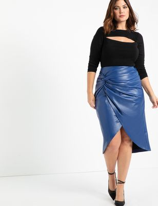 Faux Leather Skirt with Twist Detail