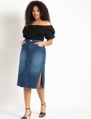 Denim Midi Skirt with Side Slits