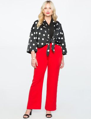 Wide Leg Trouser With Side Button Detail