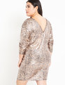 Sequin Easy Dress with V Back Snake
