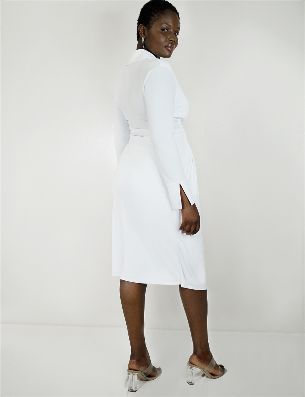 Tie Waist Dress with Collar