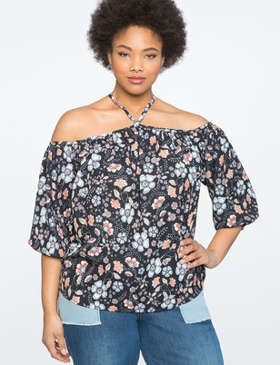 Printed Cold Shoulder Halter Blouse