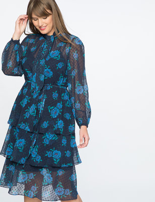 Draper James for ELOQUII Floral Print Swiss Dot Dress