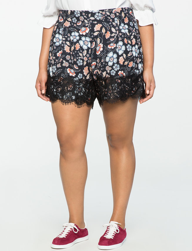 Floral Scalloped Shorts