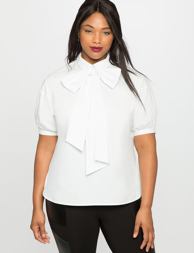 Short Sleeve Bow Blouse | Women's Plus Size Tops | ELOQUII