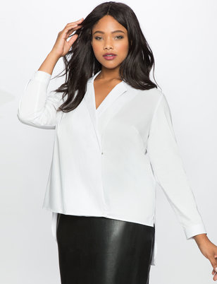 Cross Front Hi Lo Collared Blouse