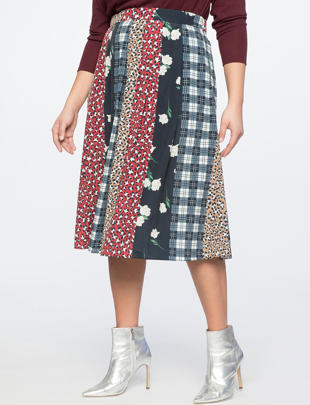 Print Blocked Circle Skirt