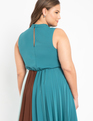 Pleated Colorblock Dress Evening Sea / Melted Chocolate / Cloud Blue