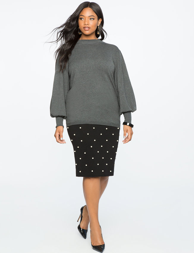 Knit Skirt with Pearls